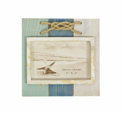 """4"""" x 6"""" Aqua. Blue and White Knot Picture Frame"""