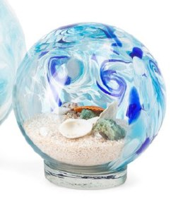 "5"" Round Clear and Blue Shell Filled Glass Globe"