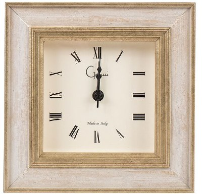 "4"" Square Ivory Cambridge Clock"