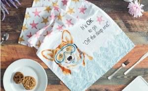 "30"" x 18"" Snorkling Corgi Kitchen Towel"