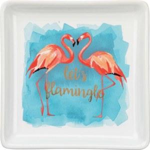 """4"""" Square Lets Flamingle Dish"""