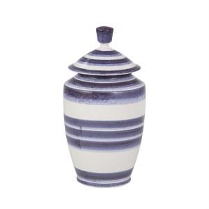 """14"""" Dark Blue and White Stripe Jar"""