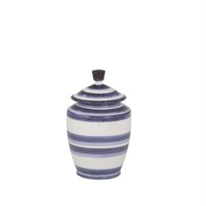 """9"""" Dark Blue and White Stripe Jar"""