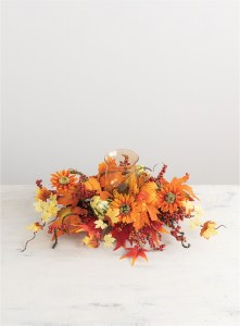"24"" Pumpkin Fall Leaf Centerpiece With Glass Hurricane"