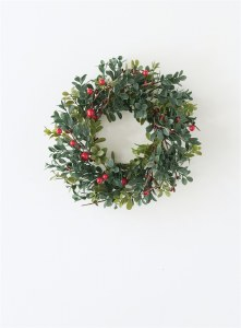 """4.5"""" Faux Boxwood Berry Candle Ring"""