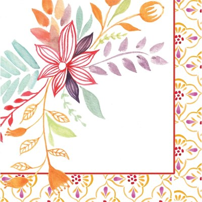 Watercolor Floral Beverage Napkin