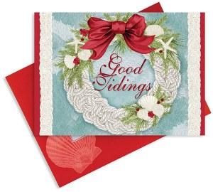 Box Of 16 Good Tidings Wreath Cards