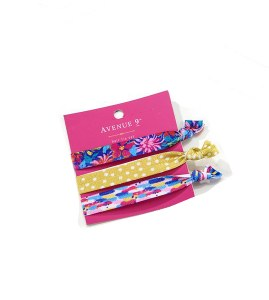 Set of 3 Assorted Hair Ties On Pink Card