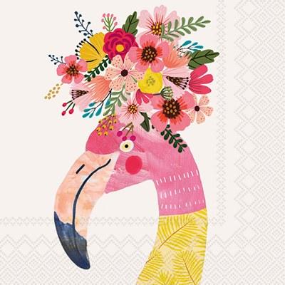 "5"" Square Floral Flamingo Beverage Napkin"