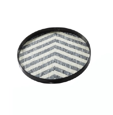 "24"" Round Mother Of Pearl Chevron Tray"