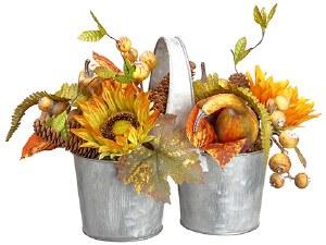 "9"" Fall Arrangement In Galvanized Planter"