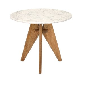 """22"""" Round White Marble Table With 3 Legs"""