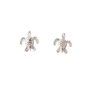 Silver Tiny Turtle Stud Earrings