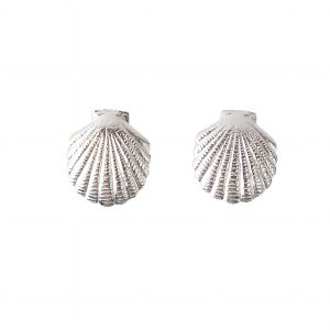 Silver Tiny Scallop Stud Earrings