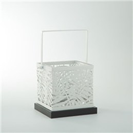 5 5 Square White Metal And Glass Votive Candle Holder Wilford Lee Home Accents