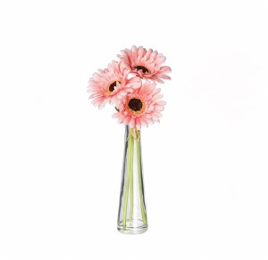 "12"" Faux Pink Gerbera Daisy In Glass Vase"