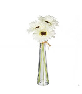 "12"" Faux White Gerbera Daisy In Glass Vase"