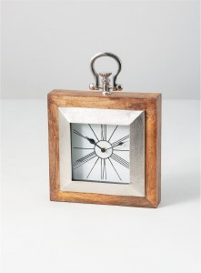 """10"""" Square Brown Wooden and Silver Clock"""