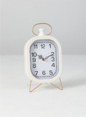"11"" White Oval Metal Clock"
