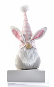 """10"""" Gnome With Pink Hat and Bunny Ears"""