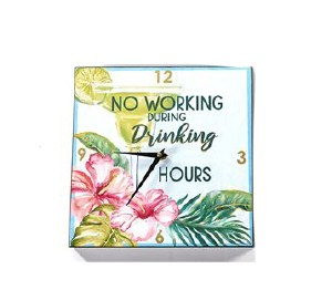 """11"""" Square Drinking Hours Clock"""