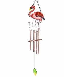 "35"" Pink Flamingo Metal and Glass Chime"
