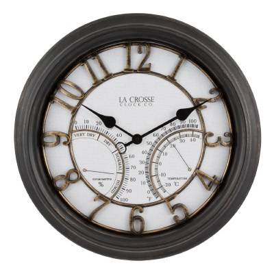"19"" Round Bronze Clock With Therometer and Humidity Gauge"