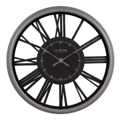 """13"""" Round Black and Gray Openwork Clock"""