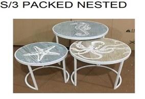 Set of 3 Beach Themed Nesting Tables