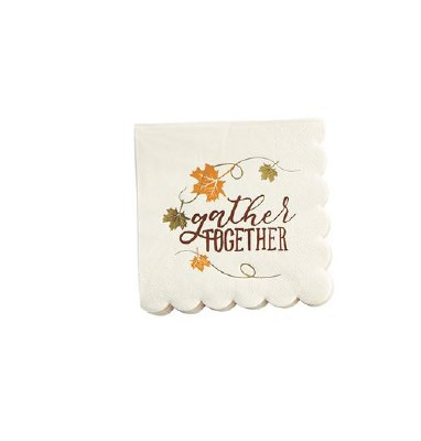 "5"" x 5"" Thanksgiving Gather Beverage Napkin"