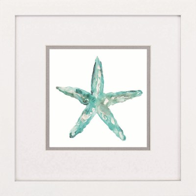 "17"" Square Aqua Starfish Framed Print"