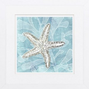 """19"""" Square White and Gold Starfish On Blue Framed Print"""