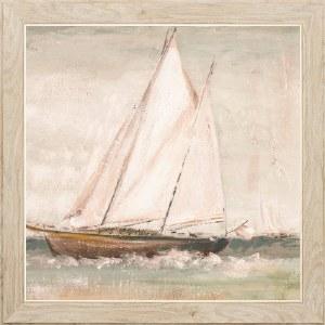 "26"" Square Textured Master Sailboat 2 Framed Print"