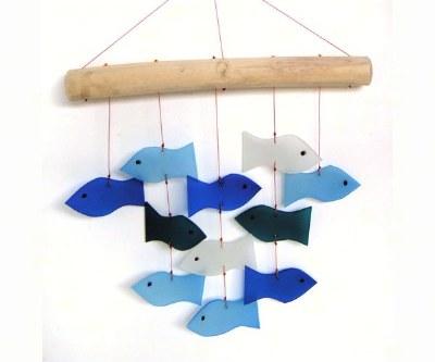 """12"""" Blue Fish Glass Windchime"""