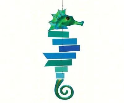 "11"" Blue and Green Seahorse Glass Spinner"