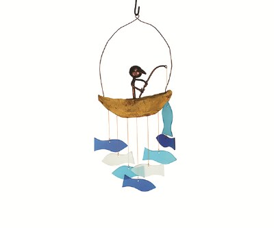 "9"" Fisherman With Blue Fish Windchime"
