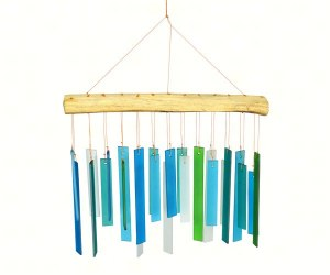 "12"" Blue and Green Glass Bars Windchime"