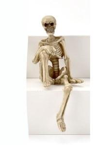 Skelton With Knee Up Shelf Sitter