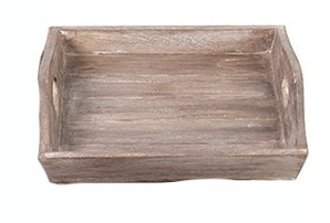 """14"""" Square White Washed Brown Wooden Tray With Handles"""