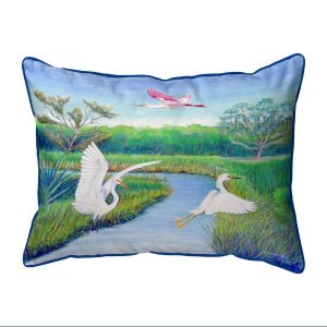 """11"""" x 14"""" 2 Egrets and Roseate Pillow"""