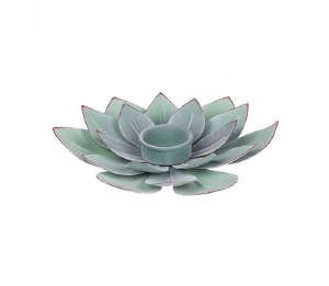 "8"" Round Green and Purple Metal Succulent Tea Light Candle Holder"