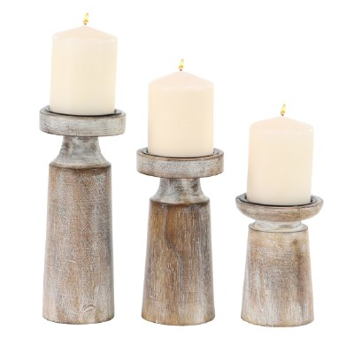 Set of 3 White Washed Pillar Candle Holders