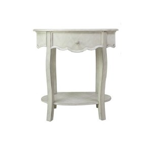 """28"""" Oval Aged White and Gray 1 Drawers Table"""