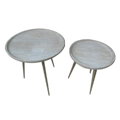 """Set of 2 20"""" Round White Washed Table With Aged Brass Legs"""