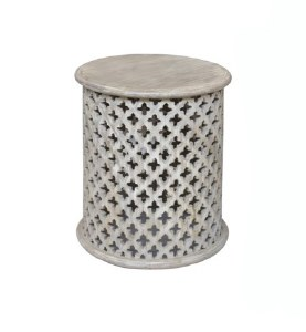 Small Round White Washed Openwork Wooden Table