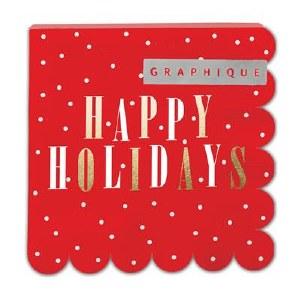 "5"" Square Red Happy Holidays Beverage Napkin"