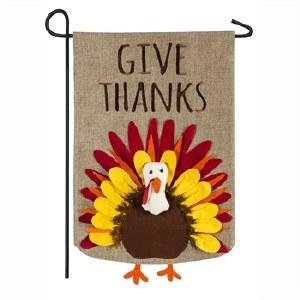 "28"" x 44"" Give Thanks Turkey Burlap Garden Flag"