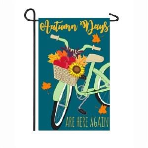 "12"" x 18"" Mini Autumn Days Bike Garden Flag"