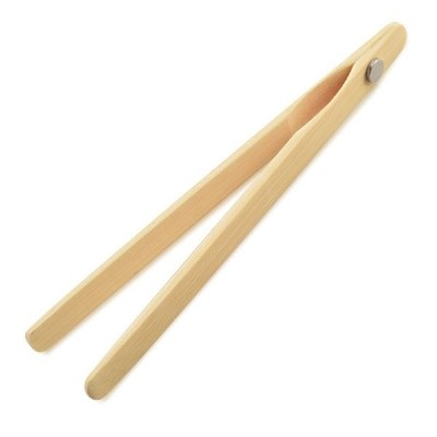 "8"" Bamboo Toaster Tongs With Magnet"