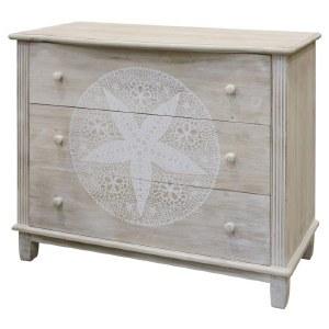 "40"" Antique White Finish 3 Drawer Sanddollar Cabinet"